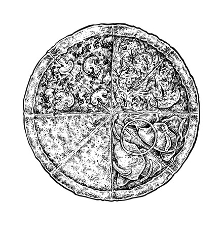 cutaway drawing: Black and white vintage sketchy style illustration of a pizza. Vector food design