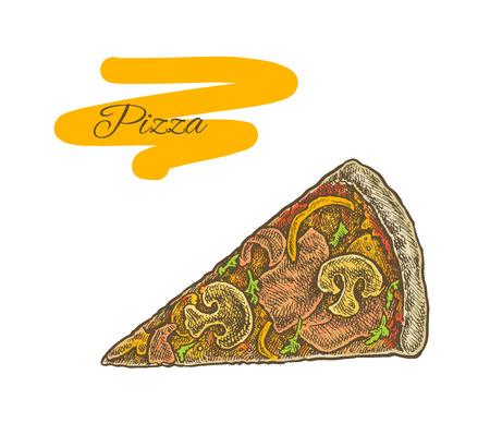 semifinished: Colorful vintage sketchy style illustration of a cut pizza slice. Vector food design Illustration