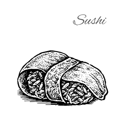 Black and white vector illustration of sushi. Vintage hand drawn style