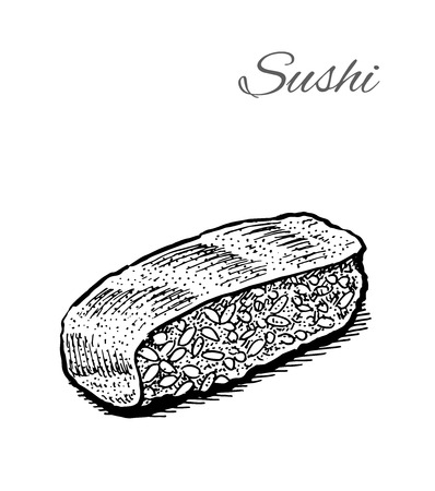 susi: Black and white vector illustration of sushi. Vintage hand drawn style