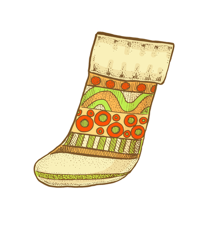 Colorful bright vintage sketchy style illustration of a Christmas sock. Vector design Illustration
