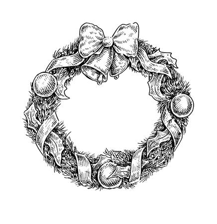 blanco y negro ilustración de la vendimia estilo incompleto de una corona de Navidad. diseño del vector