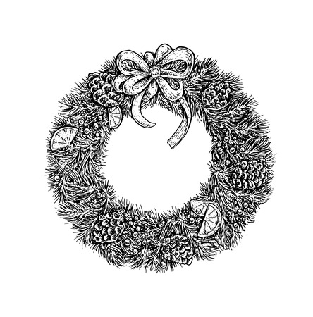 Black and white vintage sketchy style illustration of a Christmas wreath. Vector design