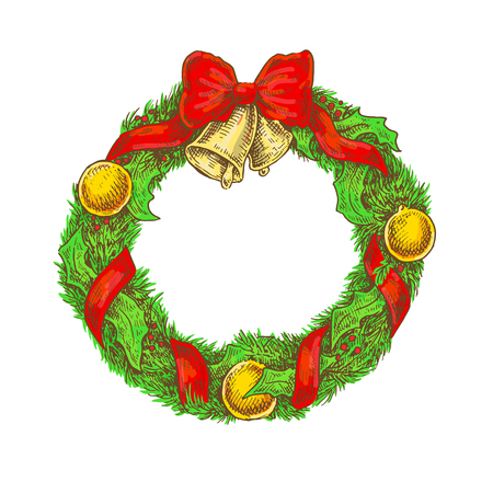 Colorful bright vintage sketchy style illustration of a Christmas wreath. Vector design Illustration