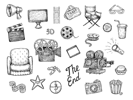 Set of black and white hand drawn cinema (movie) objects and symbols. Speaker, display, film, bobbin, camera, chair, star, lamp, soffit, popcorn, sandwich, play button and many others. Vector design Illustration