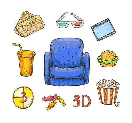 Set of colorful bright hand drawn cinema (movie) objects and symbols. Speaker, display, film, bobbin, camera, chair, star, lamp, soffit, popcorn, sandwich, play button and many others. Vector design Illustration