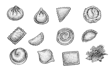 Pelmeni (ravioli, meat dumplings) set. Collection of hand drawn black and white sketchy illustrations of excellent quality and detalization. Raster forma