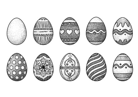 Easter eggs collection, illustration, engraving, drawing