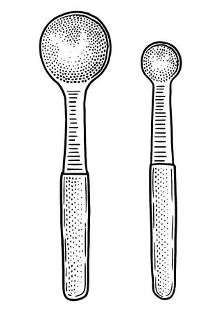 measuring spoon: Measuring spoon illustration, drawing, engraving, line art