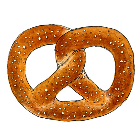 buttery: Pretzel illustration, drawing, Watercolour, Paint Stock Photo