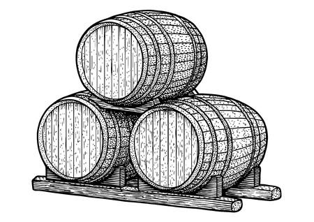 Barrel illustration, drawing, engraving, ink, line art, vector
