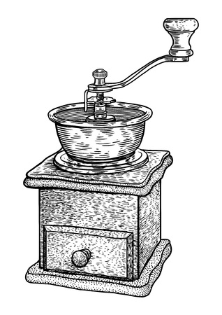 Coffee grinder illustration on a white background