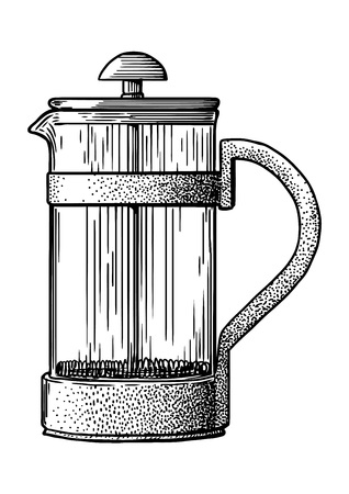 French press pot coffee maker illustration on a white background Illustration