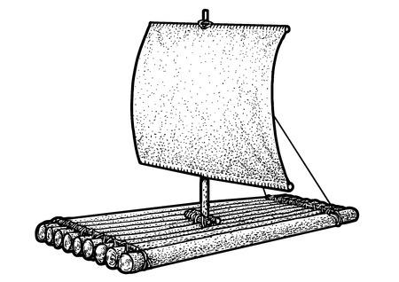 Raft illustration, drawing, engraving, ink, line art, vector illustration.
