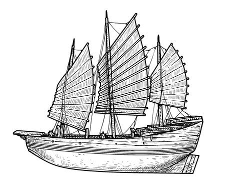 Junk boat illustration, drawing, engraving, ink, line art, vector illustration.