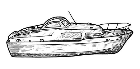 Motor boat illustration, drawing, engraving, ink, line art, vector illustration.