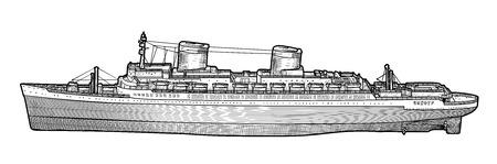 Big ship illustration, drawing, engraving, ink, line art, vector illustration.