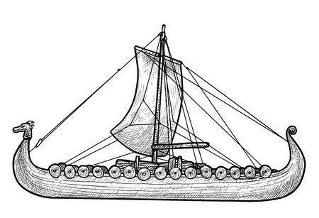 Viking ship illustration, drawing, engraving, ink, line art, vector illustration. Vettoriali