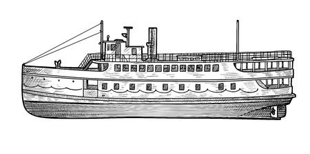 Steamer illustration, drawing, engraving, ink, line art, vector illustration. 일러스트