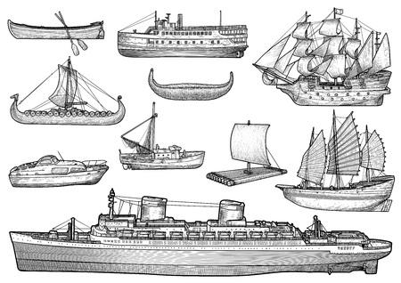 Ship, boat illustration, drawing, engraving, ink, line art, vector