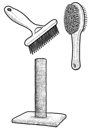 Pet brush and cat scratching post illustration, drawing, engraving, ink, line art, vector