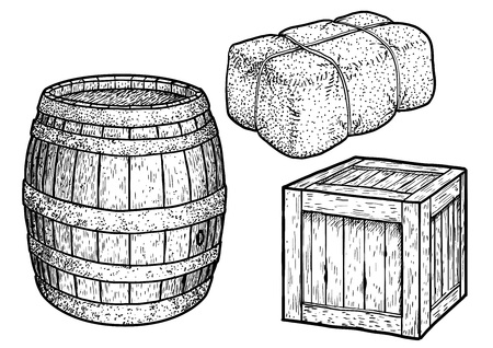 Barrel, box, illustration, drawing, engraving, ink, line art, vector
