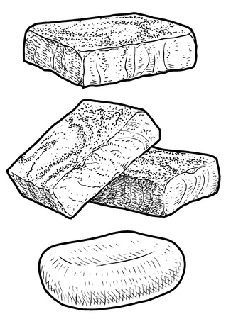 Soap, handmade soap line art vector illustration. Drawing engraving ink. Vectores