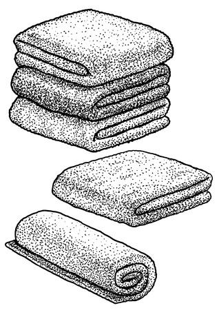 Illustration vectorielle de serviette ligne art. Dessin à l'encre de gravure. Vecteurs
