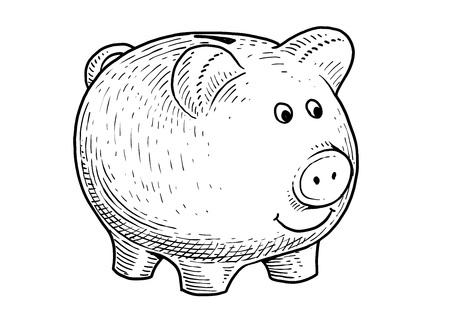 Piggy bank illustration Illustration