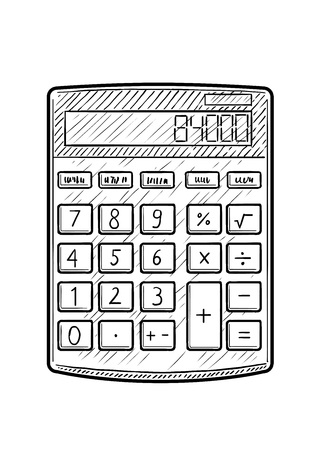 Calculator illustration, drawing, engraving, ink, line art, vector Ilustração