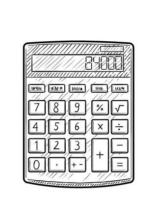 Calculator illustration, drawing, engraving, ink, line art, vector Stock Illustratie