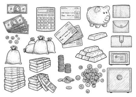 Money accessories illustration set