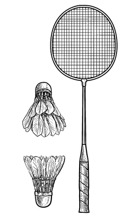 Badminton racket and ball illustration, drawing, engraving, ink, line art, vector