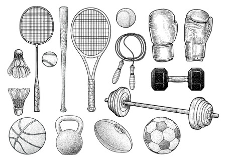 Sport equipment illustration, drawing, engraving, ink, line art, vector Reklamní fotografie - 97868378
