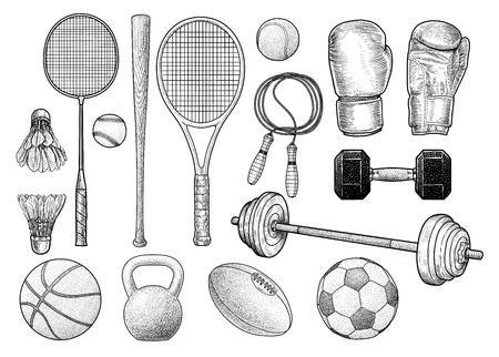 Sport equipment illustration, drawing, engraving, ink, line art, vector Illustration