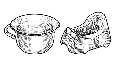 Potty illustration drawing engraving ink line art vector