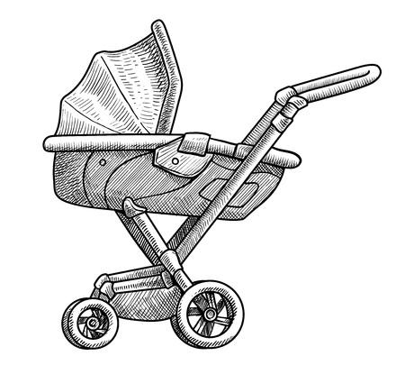 Cochecito de niño ilustración dibujo grabado tinta arte lineal vector Ilustración de vector