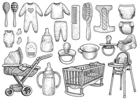 Illustration d'accessoires pour bébés bébé dessin gravure vecteur de ligne d'encre