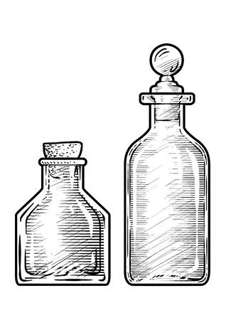Potion medicine bottle illustration engraving ink line art vector
