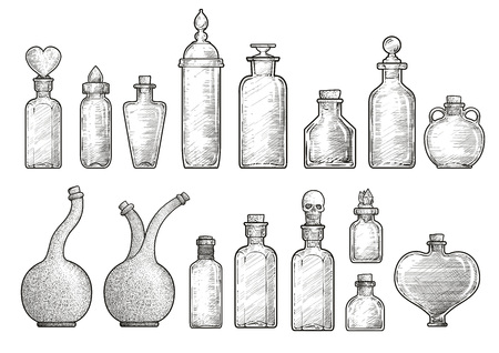 Potion medicine bottle illustration engraving ink line art vector