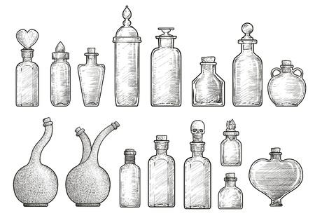 Potion medicine bottle illustration engraving ink line art vector Ilustração