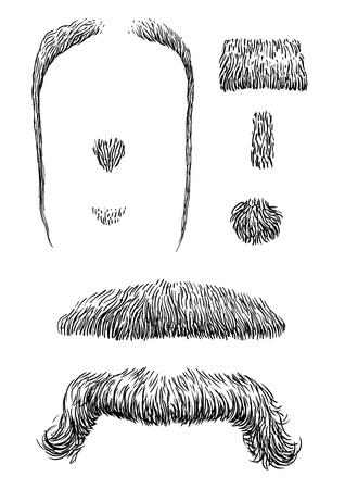 Moustache illustration, engraving, ink, line art, vector Illustration