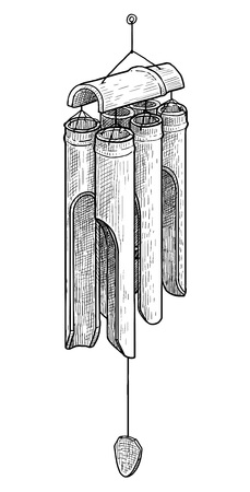 Bamboo wind chimes illustration, engraving, ink, line art, vector