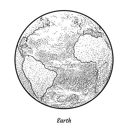 Planet Earth illustration, engraving, ink, line art, vector