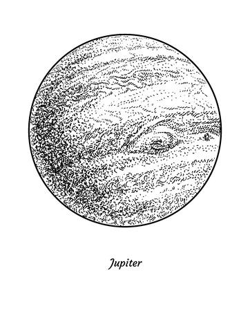 Planet Jupiter illustration engraving ink line art vector Иллюстрация