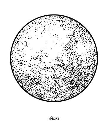 Planet Mars illustration, engraving, ink, line art, vector