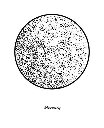 Mercury illustration, engraving, ink, line art, vector Ilustração