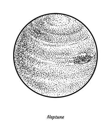 Planet neptune illustration, engraving, ink, line art, vector
