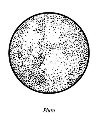 Pluto planet illustration drawing engraving ink line art vector