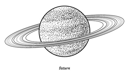 Planet Saturn illustration, engraving, ink, line art, vector
